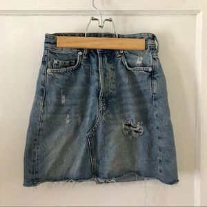 H&M high waisted distressed jean skirt